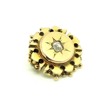 Antique Victorian Yellow Gold Old Cut Diamond Brooch