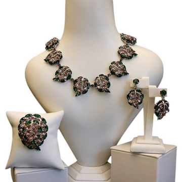 Christian Dior by Mitchel Maer 1950s Leaves Design Green Vintage Parure