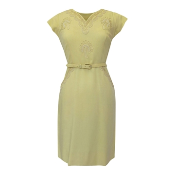 Vintage 1960s Lined Wiggle Yellow Dress