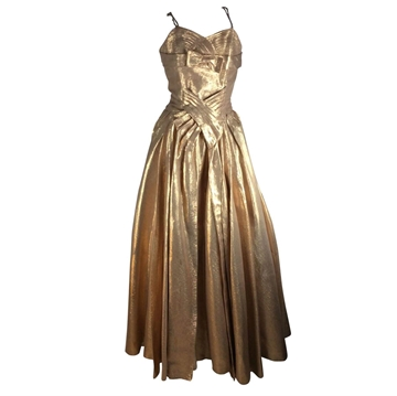 Vintage 1940's fitted bodice Lame gold Dress