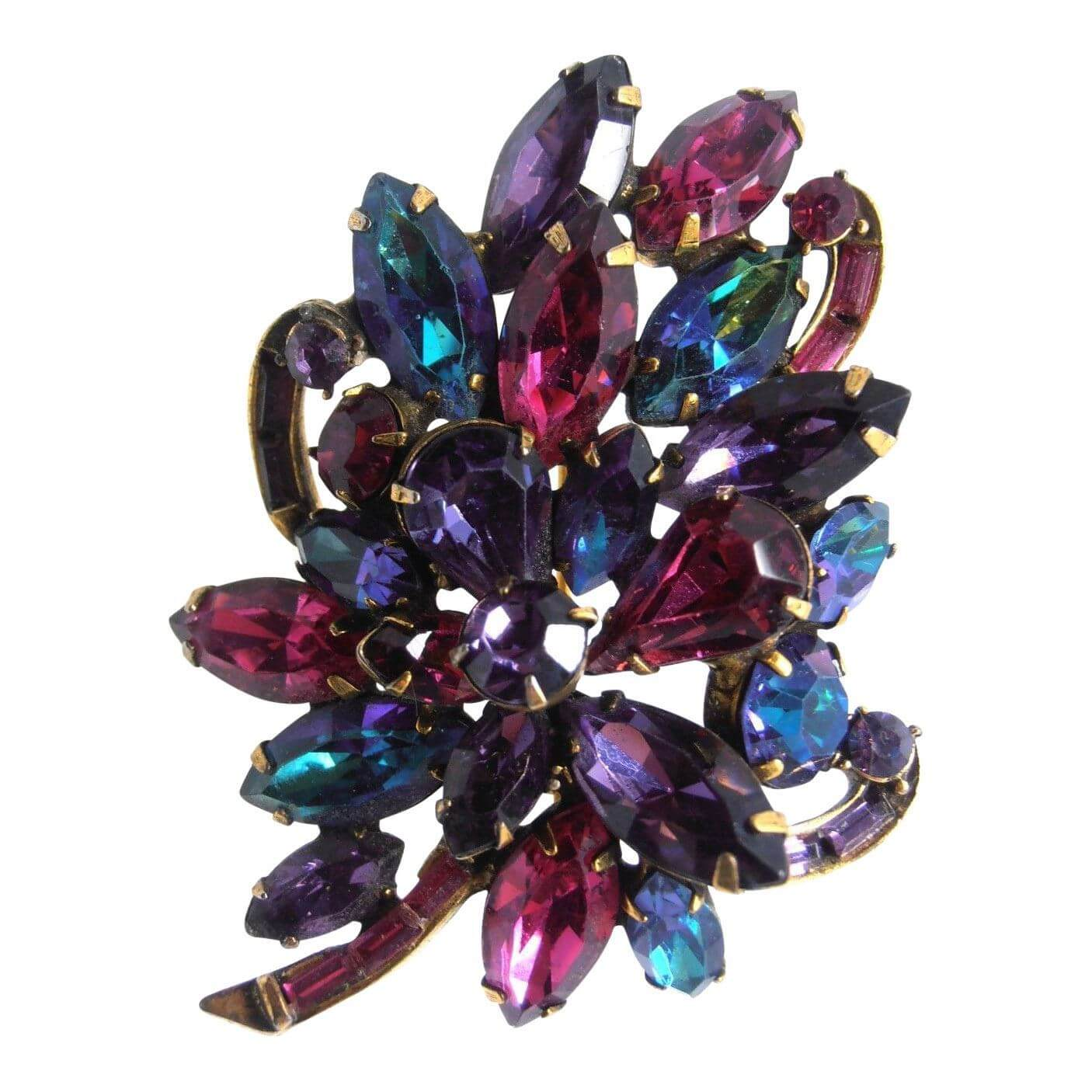 Weiss rhinestone 1950s purple vintage brooch  Open for Vintage