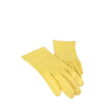 Vintage 1990s Leather bright yellow vintage Gloves