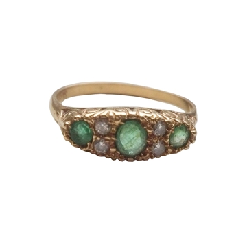Victorian 18K Gold Emerald & Diamond vintage Ring