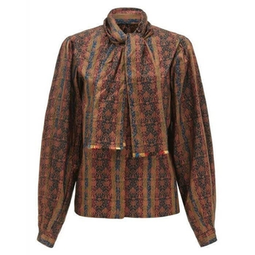 Oscar de la Renta 1970s Silk pattern brown vintage Shirt