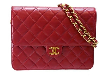 Chanel quilted two way red leather vintage shoulder bag