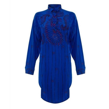 Zandra Rhodes 1970s silk Royal Blue vintage Shirt