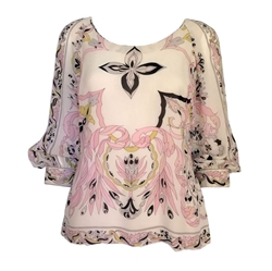 Emilio Pucci 1960s Silk patterned pink vintage Blouse