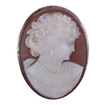Picture of Vintage Real Cameo & Silver Brooch