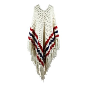 Vintage 1970s striped Crochet white Poncho