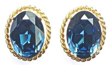 Vintage Gold Tone and Blue Glass Earrings by Ciner