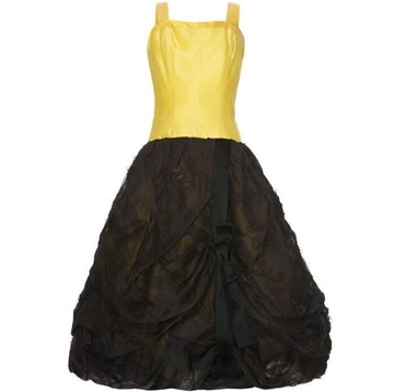Oscar de la Renta 1950s Silk Bubble style black & yellow Vintage Dress