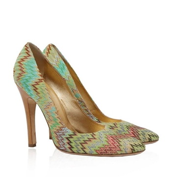 Missoni patterned turquoise green vintage pumps