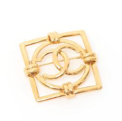 Chanel 1990s Square Frame CC Gold Vintage Brooch