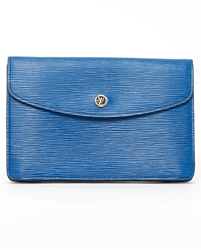 Picture of Louis Vuitton 1980s EPI Leather Envelope Blue Vintage Clutch