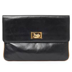 Celine 1980s Envelope Black Vintage Clutch
