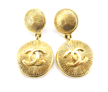 Chanel 1980s Gold-Plated Logo vintage Earrings