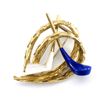 Chaumet 1960s gold Lapis Lazuli & Mother of Pearl Golfing Brooch
