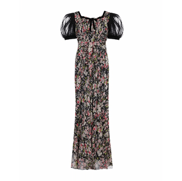 Vintage 1930s Floral Chiffon & Lace Puff Sleeve dress
