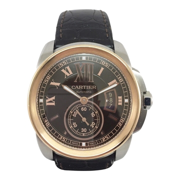 Cartier Calibre de Cartier 3389 stainless steel and rose gold vintage mens watch
