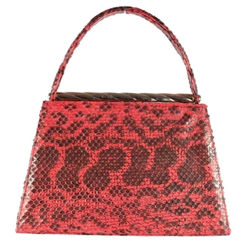 Andrea Pfister Python Trapeze Shape Red Vintage Top Handle Bag