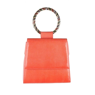 Andrea Pfister Lizard orange vintage evening bag