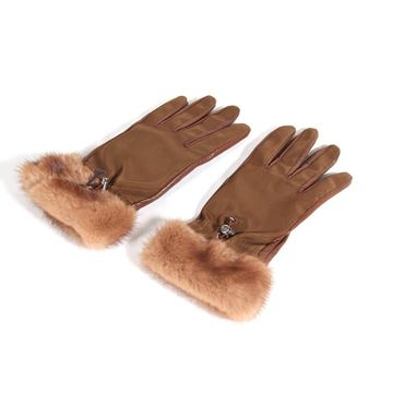 Auth Prada Italian Leather & Canvas Mink Fur Trim Tan Vintage Gloves