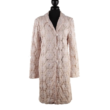 Biya Floral Lace Hand Embroidered Silk & Linen baby pink Coat