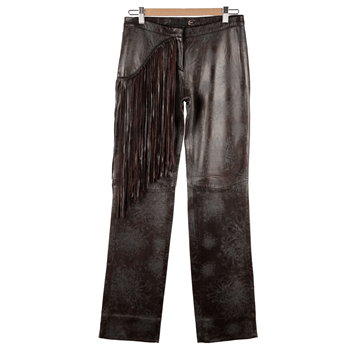 Picture of Just Cavalli Embossed Leather fringed trousers