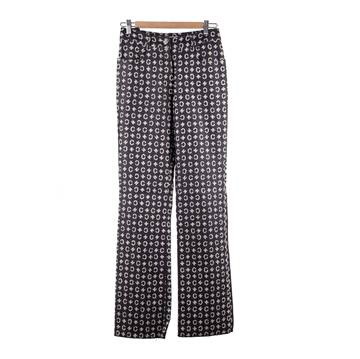 Celine Cotton & Silk logo pattern blue vintage trousers
