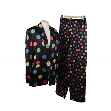 Laura Biagiotti Polka Dots Silky Black Vintage Blazer & Trousers Suit