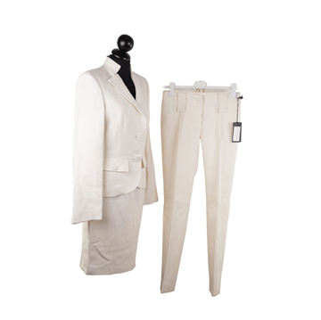 Picture of Versace Wool 3 Piece ivory skirt & trouser suit