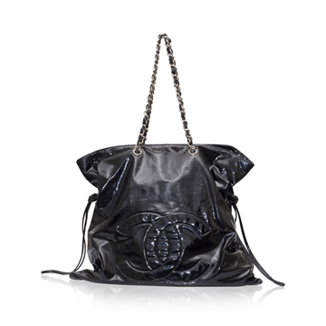 Chanel Patent Leather black vintage Tote Bag
