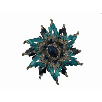 Kenneth Jay Lane Metal Rhinestone & Enamel Flower blue vintage brooch