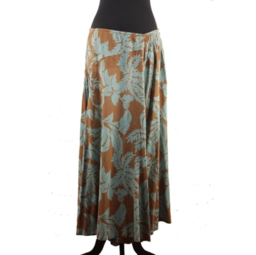 Dries Van Noten Turquoise & Brown Floral Print Cotton Vintage Maxi Skirt