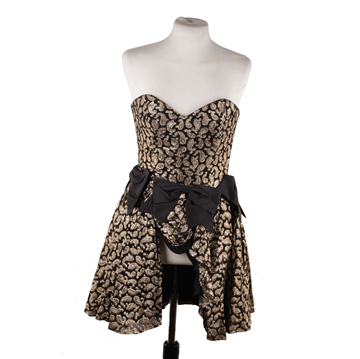 Moschino Gold Bustier Dress with Black Leather Hotpants Vintage Ensemble