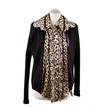 Daniela Drei Leopard Pleated Button Down Vintage Shirt & Cardigan Set