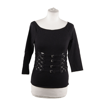 Valentino Cotton Blend & crystal embellished black vintage jumper