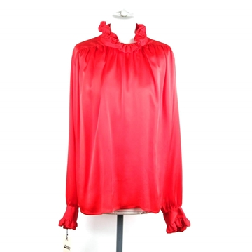Chanel Silk Button Down Frilly Red Vintage Blouse