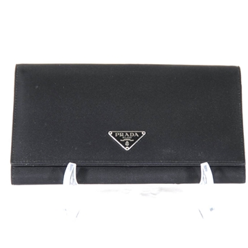 Prada Italian Tessuto Leather Continental Flap Black Vintage Wallet