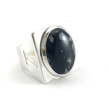 Louis Vuitton Snowflake Collection Silver & Obsidian Ring