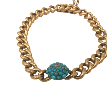 Antique Victorian Gold Curb Link and Turquoise Bracelet