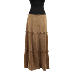 Moschino Leather Vintage Tan Suede Maxi Skirt