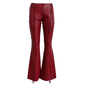 Dolce & Gabbana Leather Flared Red Vintage Trousers