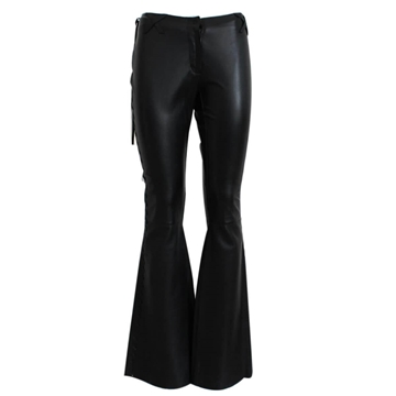 Dolce & Gabbana Leather Flared Black Vintage Trousers