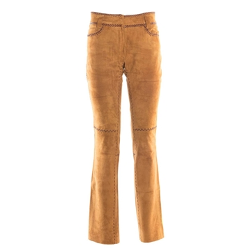 Dolce & Gabbana Leather Flared Tan Vintage Trousers