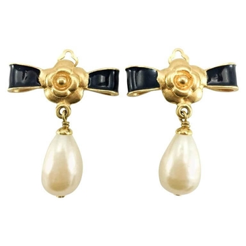Chanel 1993 Gold-Plated Camellia, Enamelled Black Bow & Faux Pearl Drop vintage Earrings