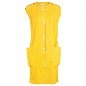Pierre Cardin 1980s Space Age Mustard Yellow vintage Dress