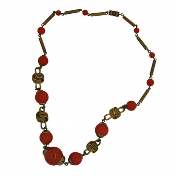 Vintage 1930s Amber Glass Bead Necklace