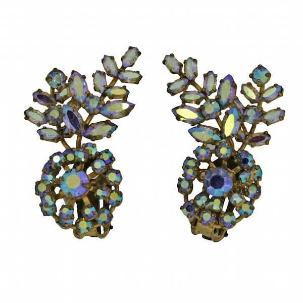 Vintage 1960s Aurora Borealis Rhinestone Cuff Earrings