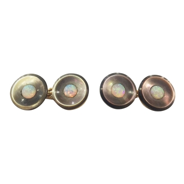 Antique Tiffany Opal and Mother of Pearl 18 carat Yellow Gold Cufflinks